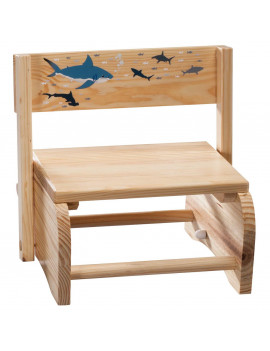 2-in-1 Children's Step Stool and Chair, Sharks Design