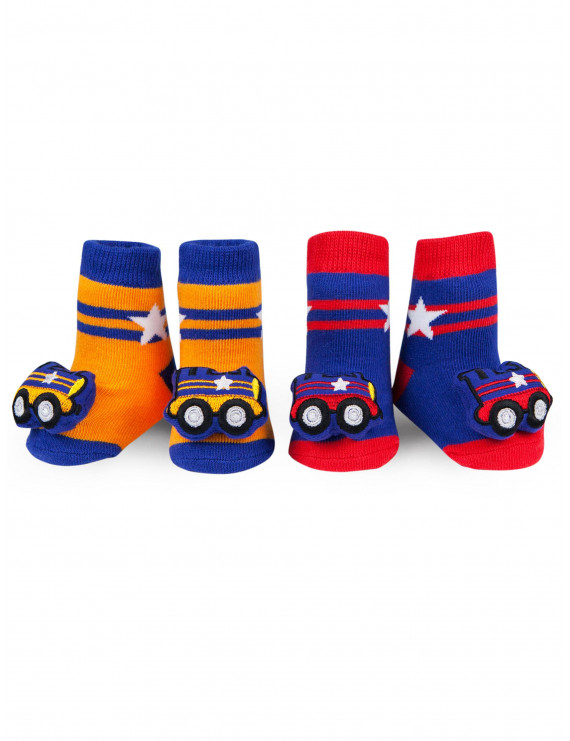 Waddle Rattle Socks Baby Booties For Boys Train Rattle 0-12 Months Newborn Gift - Boys Baby Socks Blue, Red, Yellow