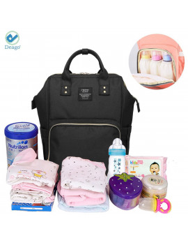 Deago Waterproof Backpack Mummy Bag Baby Water Feeding Bottle Portable Diaper Bag Computer Large Capacity Bag Black
