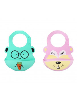 (Pack of 2) Most Hygenic Silicone Baby Bib with Cute Characters, Pink Bever + Green Carrot by Baby Classic