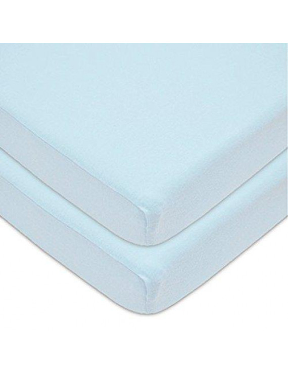 American Baby Co. Cotton Jersey Knit Fitted Playard Sheet, Blue 2pk