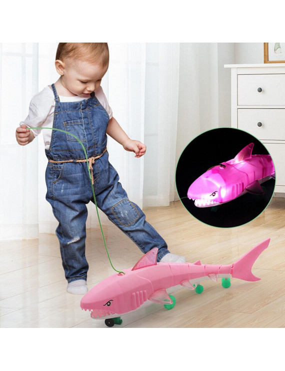 Siaonvr LED Light Music Electric Toy For Boys Kids Gift Leash Shark Glow Toy Baby Toy