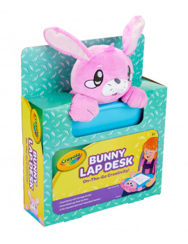 Crayola Bunny Plush Travel Lap Desk with Markers, Ages 4+