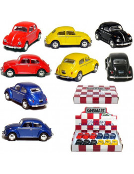 """12 pcs in Box: 2½"""" 1967 Volkswagen Beetle 1:64 Scale (Black/Blue/Red/Yellow)"""