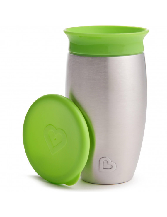 Munchkin Miracle 360 Spoutless Stainless Steel Sippy Cup, 10oz, Green
