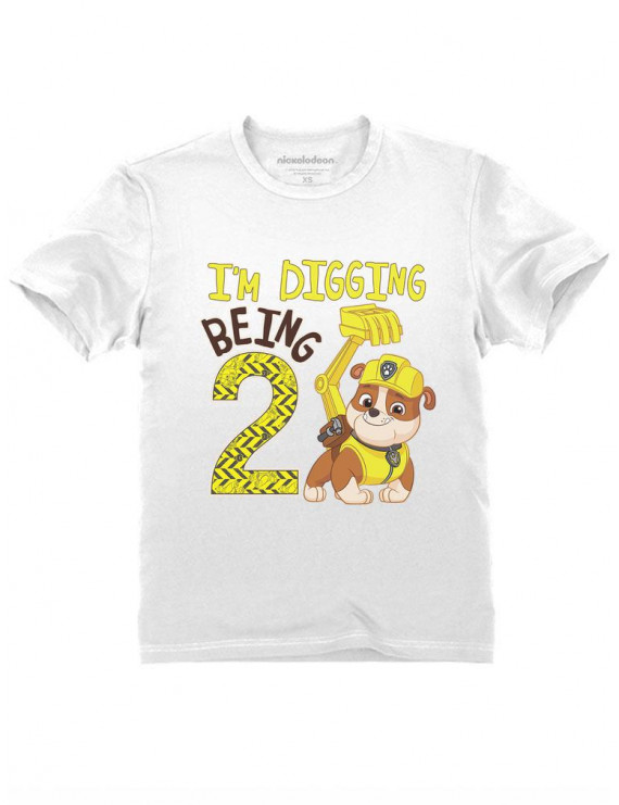 Paw Patrol Rubble Digging 2nd Birthday Official Nickelodeon Toddler Kids T-Shirt 2T White