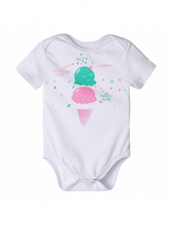 OFFCORSS New Born Baby Girl Short Sleeve Onesie Ropa Para Bebes White 6-9 Months