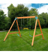 Swing-N-Slide Ranger Wooden Swing Set with 2 Swing Seats and Trapeze/Ring Combo Swing