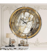 Designart 'Gold, Black and White Hanpainted Abstract' Metal Wall Clock