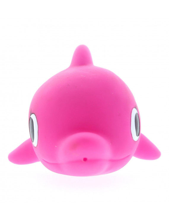 """Dollibu Dolphin Rubber Bath Toy Squirter Fuchsia Bath Buddy Fun Floater Animal Collection 4.5"""" Affordable Gift for Babies Safe For All NO Age Restrictions Bath Time / Pool Toy Water Party Giveaways"""