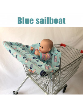 2-in-1 Baby Shopping Trolley Cart Cover Seat kids High Chair Protector Mat
