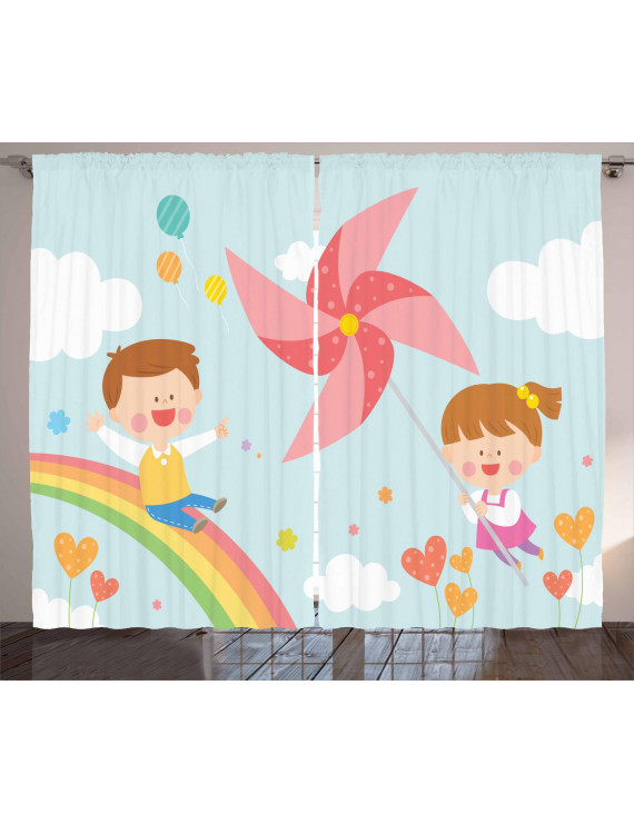 Pinwheel Curtains 2 Panels Set, Children Riding on Rainbow Dreamy Heart Shaped Flowers Fairy Tale Nursery Kids, Window Drapes for Living Room Bedroom, 108W X 84L Inches, Multicolor, by Ambesonne