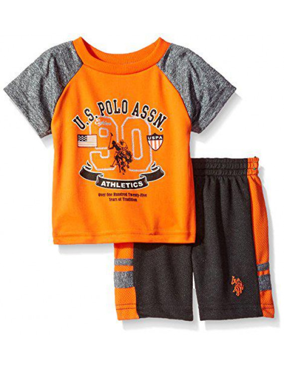 U.S. Polo Assn. Baby Boys' Sleeve T-Shirt and Mesh Short Set, Orange, 3/6 Months