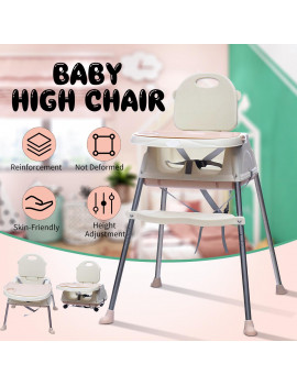 3 in 1 Adjustable Baby High Chair Table Convertible Play Seat Booster Toddler Feeding Chair With Tray Wheel