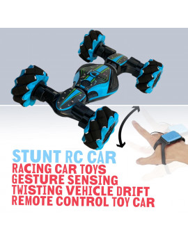 Remote Control Stunt Car 2.4G 4WD Stunt Gesture Induction Twisting Off-Road Vehicle Light Music Drift Traverse Remote Control Dancing Side Driving Toy Gift for 6 7 8-12 Year Old Boy Toys (Blue)