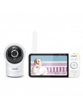 "VTech Smart Wi-Fi Video Baby Monitor with 5"" High Definition Display and 1080 p 360 degree Panoramic Viewing Pan & Tilt HD Camera, RM5864HD (White)"