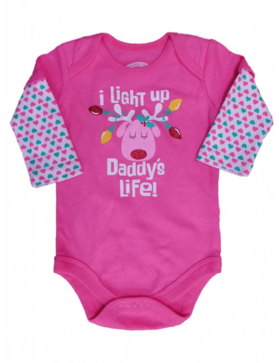 Holiday Time Infant Girls I Light Up Daddy's Life Bodysuit Reindeer Creeper