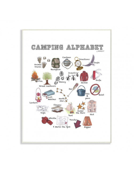 The Kids Room by Stupell Watercolor Camping Alphabet with Map Tent and Animal Tracks Wall Plaque Art