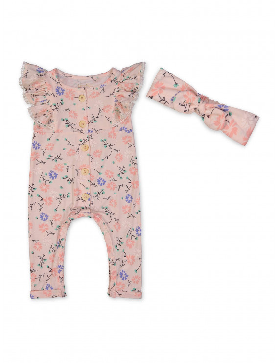 Jessica Simpson Baby Girl Scallop Jumpsuit & Headband