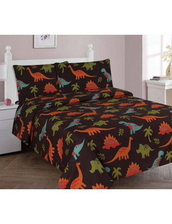 Golden Linens 4 Pieces Full Size Printed Modern Designs Kids Sheets Bed Cover with Pillow Cases (Full, DINOSAUR BROWN)