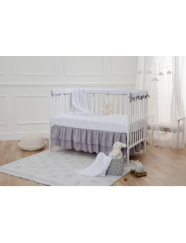 American Baby Company Heavenly Soft Chenille Reversible Rail Covers for Crib Sides, 2 Piece, Gray & White