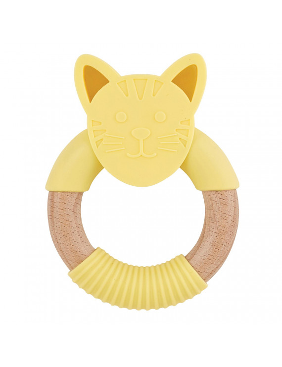 "5"" Yellow Cat Silicone Teether"