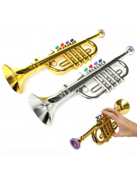 "14""x4"" Musical Instrument Rhythm & Music Toys for Kids Natural Toys Mini Plastic Horn Trumpet Toddler Kids Children Toys Birthday Christmas Gift Gold , Silver"
