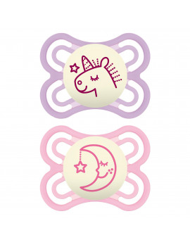 MAM Glow In The Dark Pacifiers, Baby Pacifier 0-6 Months, Best Pacifier for Breastfed Babies, Premium Comfort and Oral Care 'Perfect' Collection, Girl, 2-Count
