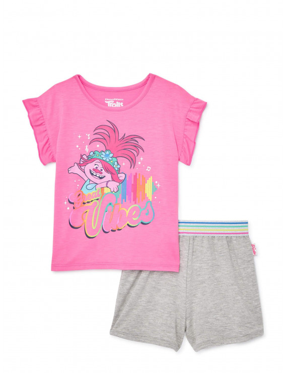 Trolls Toddler Girl Ruffle Sleeve T-shirt & Shorts, 2pc outfit set