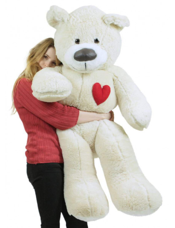 Valentine's Day Giant Teddy Bear With Heart on Chest to Express Love, 5 Foot Soft White Big Plush Made in USA