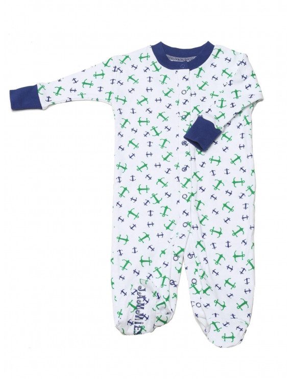 New Jammies Baby Boys Blue Anchor Print Organic Cotton Footie Romper