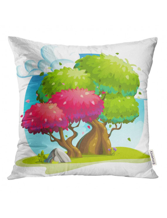 STOAG Gray Game Colorful Trees Under The Clouds Green Basket Cartoon Throw Pillowcase Cushion Case Cover 16x16 inch