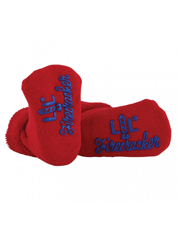 "7"" Red Baby Socks With Cute Design: ""Lil Firecracker"""