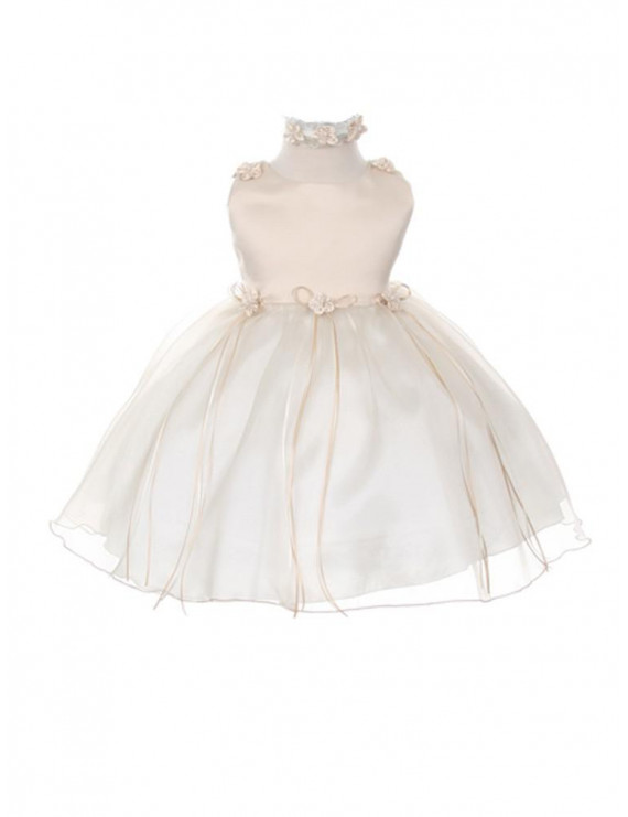 Kids Dream Baby Girls Champagne Organza Rosebud Ribbon Flower Girl Dress