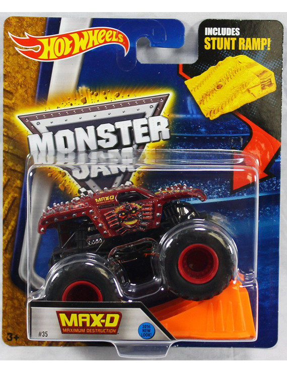 Monster Jam Max D Maximum Destruction Red 2016 New Look! Includes Stunt Ramp! #35, Hot Wheels Monster Jam Truck - Max-D Number 35 By Hot Wheels
