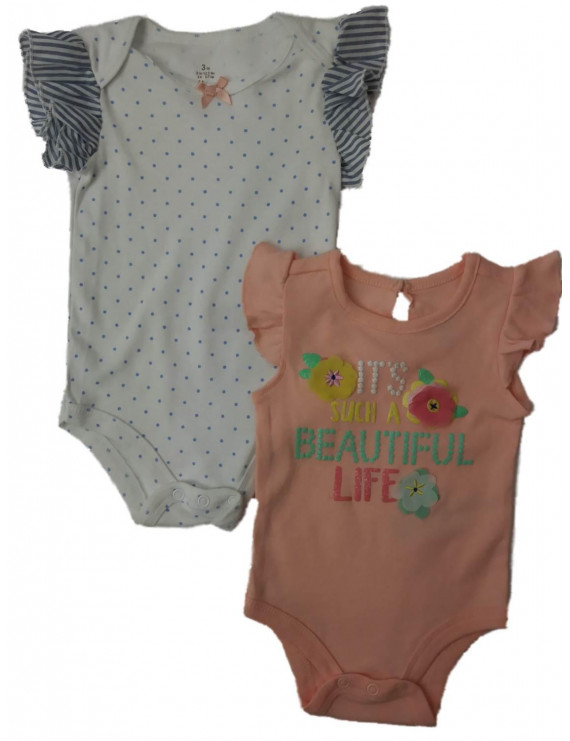 Infant Girls Beautiful Life Floral Polka Dot Single Bodysuit 2-PC Outfit