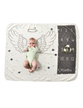 Baby Monthly Milestone Blanket For Girl Boy Floral Wings Unicorn Frame Newborn Photo Prop Background Super Soft Flannel 28 * 40in