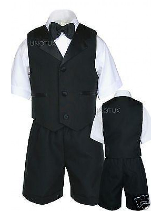 Black Boy Baby & Toddler Satin Lapel Bow Tie Vest Shorts Suit S M L XL 2T 3T 4T
