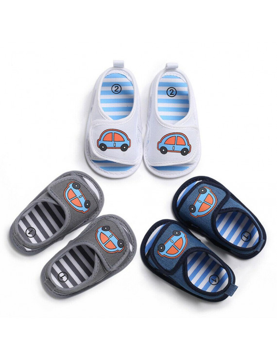 wsevypo Baby Summer Sandals Car Print Breathable Mesh Rubber Sole Non-Slip Outdoor Shoes for Boys and Girls 0-18 Months