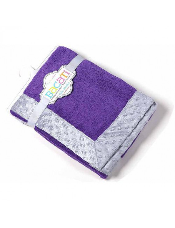 Bacati - Solid Center with Grey Border 30 x 40 inches Plush Blanket, Purple/Grey