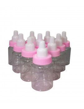 "3.5"" Inch tall Pink 24 Baby Milk Bottles with Removable Tops for Baby Showers, Favors, and decorations"