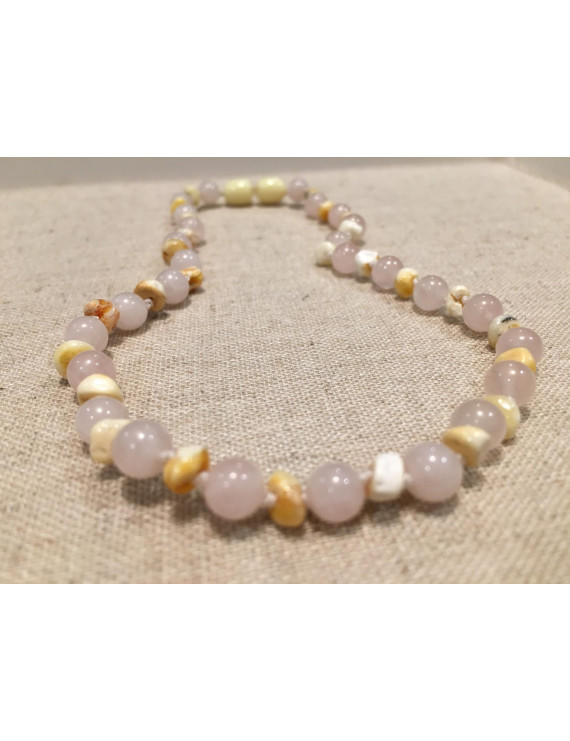 Baltic Amber Teething Necklace Rainbow Milk Mixed with Pink Rose Quart