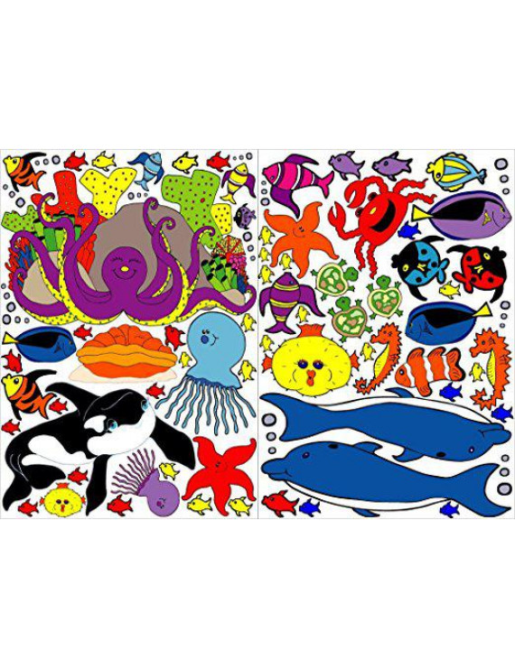 Under the Sea Wall Decals / Under Water Wall Decor / Under Sea Ocean Creatures, Sharks, Whale, Dolphins, Octopus, Jellyfish, Clown Fish and More