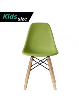2xhome - Green - Kids Size Plastic Side Chair Green Seat Natural Wood Wooden Legs Eiffel Childrens Room Chairs No Arm Arms Armless Molded Plastic Seat Dowel Leg