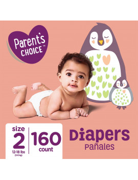 (2 pack) Parent's Choice Diapers, Size 2, 160 Diapers