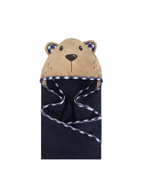 Hudson Baby Boy and Girl Woven Terry Animal Hooded Towel, Plaid Bear