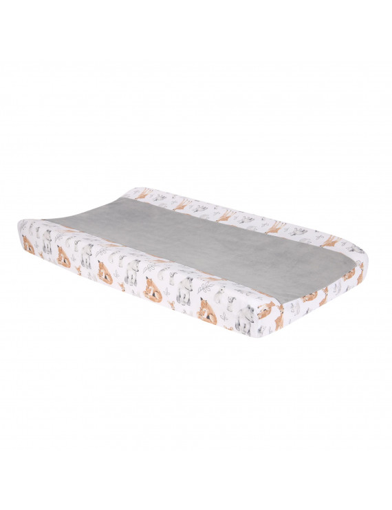 Lambs & Ivy Painted Forest White Minky Changing Pad Cover