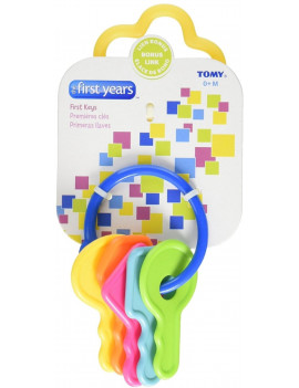 The First Years First Keys Teether, Baby Teething Toy, Includes Ring and 5 Numbered Keys