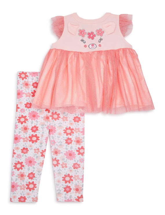 Duck Duck Goose Baby Girl Tulle Top & Legging Outfit, 2pc set