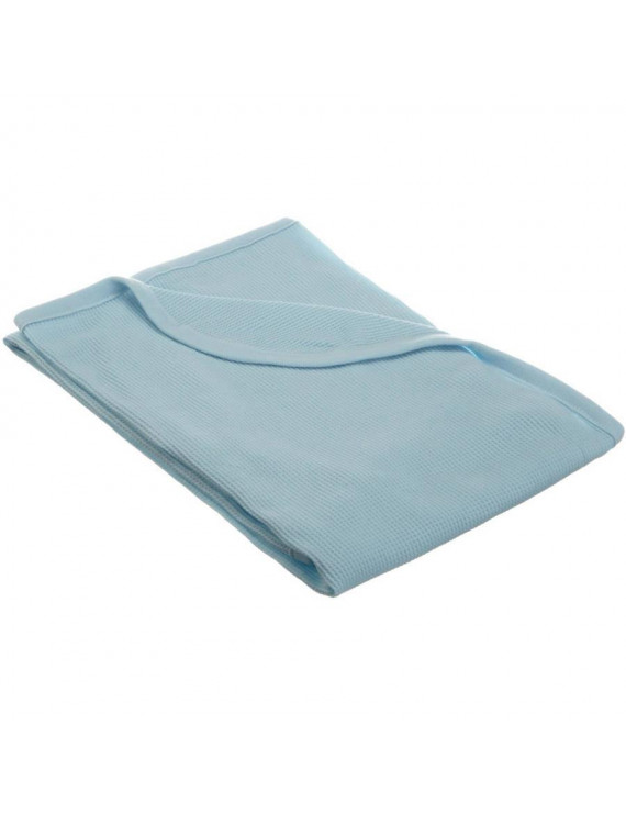 American Baby Company 30 X 40 - Soft 100% Natural Cotton Thermal/Waffle Swaddle Blanket, Blue, Soft Breathable, for Boys and Girls